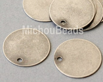 3 Matte ANTIQUED Silver 15mm Drops - Flat Round Blank STAMPING Disc Charm - Stamping Findings Pendant Coin - Instant Ship from USA - 5568