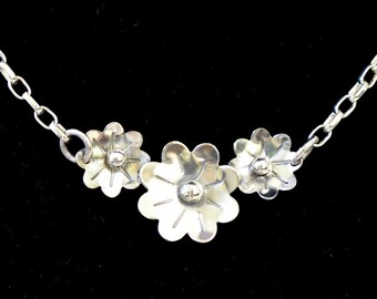 Sterling silver flower necklace.  handmade  solid sterling silver