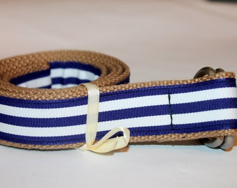 "Navy Blue and White Belt Khaki Belt 1.25"" Wide"