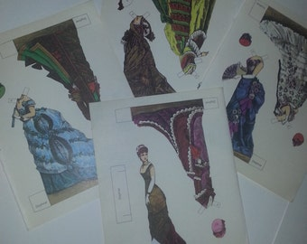 Vintage paper doll pages Victorian lady fashion clothing pictures illustrations 1980s repro for altered art scrapbook etc