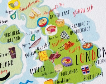 British Isles Food Map, England Map Print 5x7