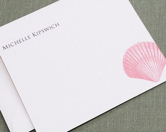 Coral Shell Flat Cards, Personalized, Set of 15