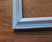 Distressed blue frame - 5x7 handpainted light blue picture frame, baby blue