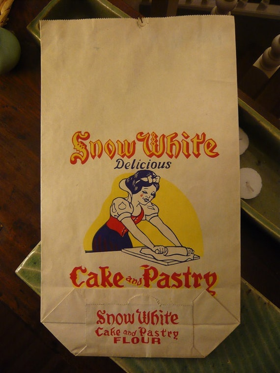 Cake Decorating Corn Flour Bag : Antique Snow White Cake and Pastry Flour Bag Paper by ...