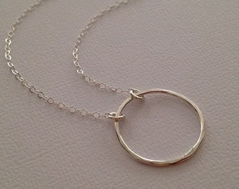 Small Circle Necklace in Sterling -Eternity Ring Necklace in Sterling  -Silver Karma Ring Necklace