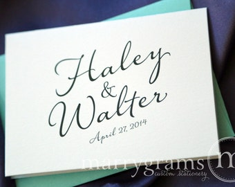 Custom Wedding Thank You Cards - Names & Date Bridal Shower Personalized Thank You Notes Fancy, Pink, Purple, Lagoon, Navy Sale (50 ct) SS03