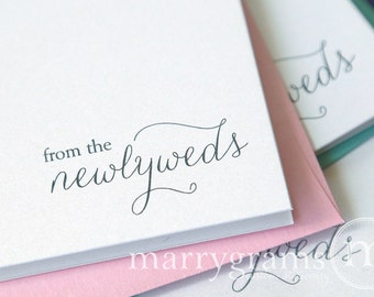 From the Newlyweds... Wedding Thank You Cards - Thank You Notes from Bride and Groom - Wedding Newly Married Mr. Mrs. Notecard Set - CS01