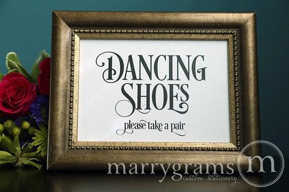 Dancing Shoes Wedding Sign Flip Flops Basket Sign by marrygrams