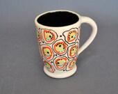 Coffee Mug, Tea Mug, Ceramic Pottery Orange Fish Eye, Handmade, wheel thrown