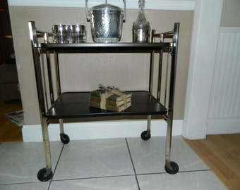 Vintage Metal Cart Folding Kitchen Cart Mid Century Cart Mad Men Bar On Sale