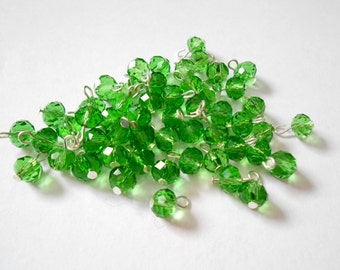 Emerald Green Faceted Rondelle Dangle Beads