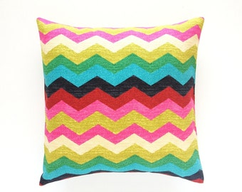Waverly Desert Flower Chevron Decorative Pillow Cover. All Sizes. Pink, Red, Green, Yellow, Blue. Colorful Floral