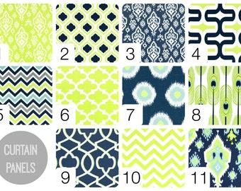 Lime and Navy Curtain Panels. 25 or 50 Inch Widths. 63, 84, 96, 108, 120 Lengths. Ikat, Moroccan, Chevron Window Treatments. Drapery