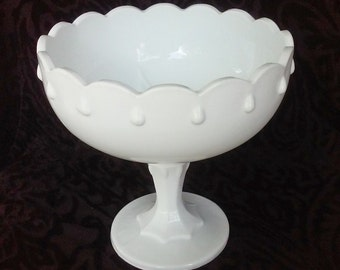 Vintage Teardrop Milk Glass Large Compote for Wedding Decor or Candy Buffet
