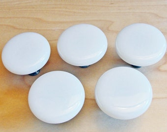 Fused Glass Cabinet or Drawer Knobs, Classic White Cabinet Pulls, Cupboard Knobs, Furniture Pulls, Closet Door Pulls, Round Drawer Knobs