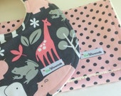 Pink Zoo ORGANIC Bib and Burp Cloth Set Michael Miller Zoologie Jungle Polka Dots