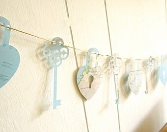 Travel Wedding, Key To My Heart, Garland, Lock and Key Garland, Map Key,Decoration, Map Wedding, Blue and White, Key Garland, Lock Garland
