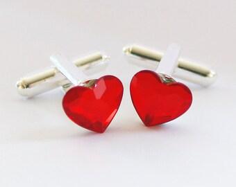 Swarovski Red Heart Cufflinks, Valentines Day Wedding Groom Gift, Groom Cuff Links, Crystal Anniversary Gift, Valentines Day Gift for Him