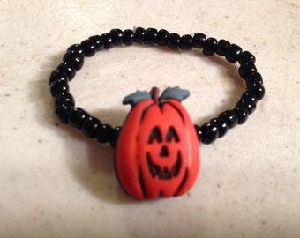 Pumpkin Bracelet - Halloween Jewelry - Beaded Stretch Jewellery - Black - Orange - Fashion - Children