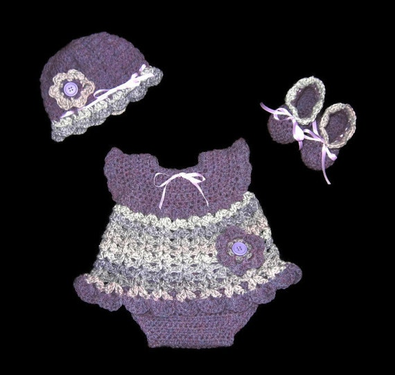 Crochet Purple Baby Girl Dress Set Knit Diaper Dress Set  Baby Girl Layette Set Purple Crochet Baby Dress Crochet Newborn Baby Girl Outfit