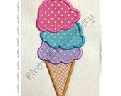 Ice Cream Cone Machine Embroidery Design - 4 Sizes