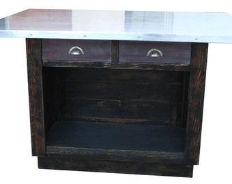 Custom Zinc Top Reclaimed Wood Kitchen Island