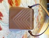 Vintage 50s Ladies Handbag Taupe Color Chevron Design