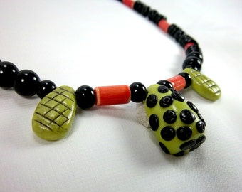 Funky Green Necklace, Polka Dot Necklace,  Orange, Black, Polymer Clay, Polka Dots, Bright Colors, Fun Necklace