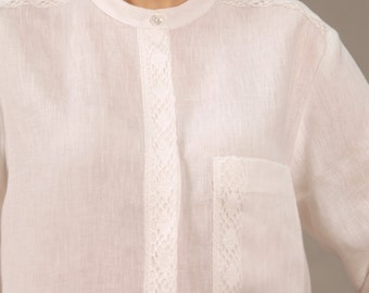 Linen Shirt For Woman Longsleeve With Lace Decor