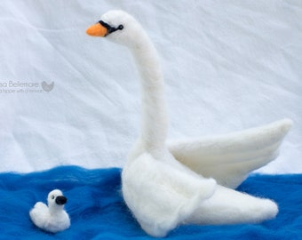 Needle Felted Swan and Baby