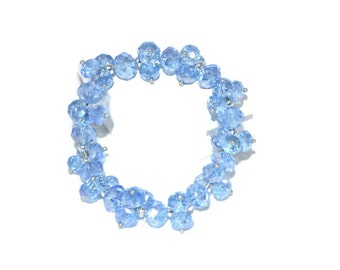 Cornflower Blue Crystal Bracelet Hand-Beaded Stretchy Fits All