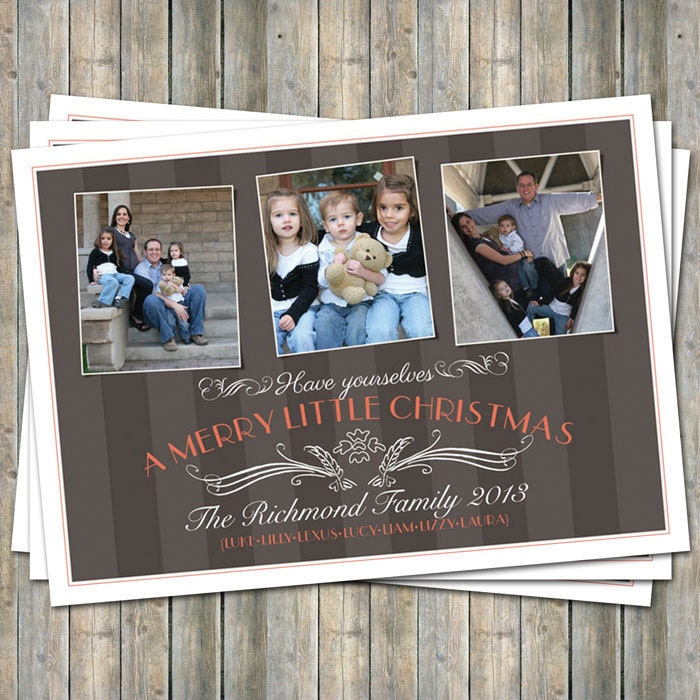 Christmas Photo Card, 3 photos, Brown and Orange, multiple photos digital printable file