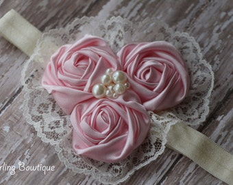 Pink and Ivory Rosette Lace Elastic Headband