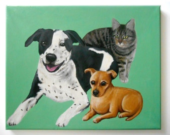"Custom Pet Portrait / Custom Dog Portrait - 3 Pets - Solid Background (16x20x0.75"" painting on canvas) Pitbull Example"