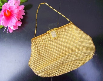 Vintage Whiting and Davis Co Gold Mesh Evening Bag - Rhinestone Top & Clasp - Pristine :)