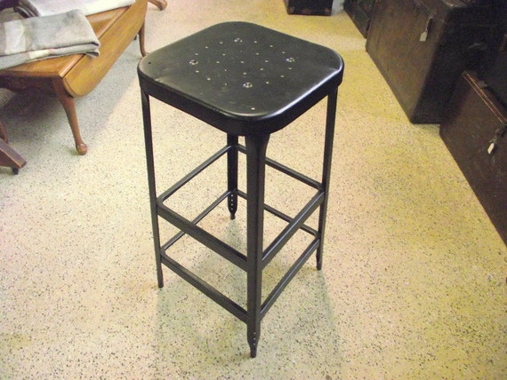 Vintage Lyon Industrial Metal Stool Square Nice For Kitchen