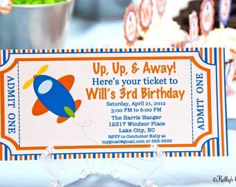 Airplane Ticket Invitation- Custom, Printable Digital Birthday Invitation