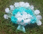 Fan Bouquet Bridal Bouquet in Aqua and White Silk flowers Victorian style wooden Fan bouquet