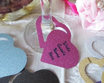 Double Heart Wine Glass Charm / Tags / Labels - Use at Bridal Showers, Weddings & Engagement Party - 12 Tags in your color choice