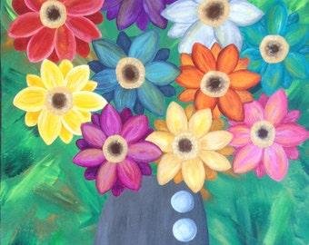 Kerri Ambrosino Mexican Folk Art PRINT Flowers Vase Gerbera Daisies Happiness Modern