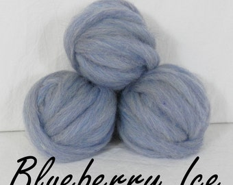 Wool roving Blueberry Ice, 1 ounce wool roving for needle felting, wet felting, spinning, 1 oz wool roving, colored wool sampler