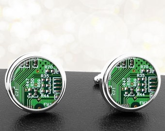 Green Computer Circuit Board Cufflinks Handmade Cuff Links Gifts for Computer Geeks Nerds Men Techies