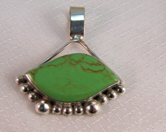 Handcrafted Green Mohave Turquoise and Sterling Pendant