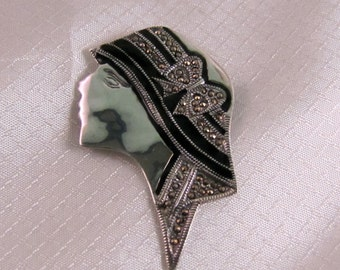 1970's Art Deco Revival Sterling Woman with Hat Brooch