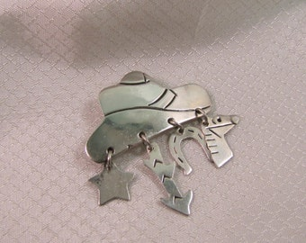 Vintage Taxco Sterling Cowboy Hat Pin
