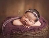 the Pixie : Newborn Headband  -Lavender - Newborn Photo Prop -  halo, blanket, wrap, flower headband