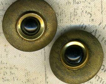 Set of 2 Vintage Gold Metal Buttons 1/2 inch 13mm Black Cabochon