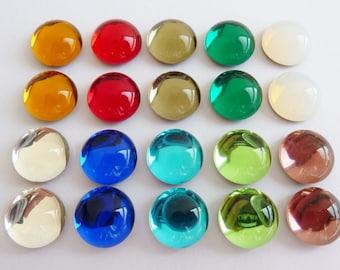 20 glass cabochons, Ø10mm, shiny big mix, round