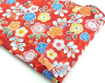 SALE Unique Gift Idea, iPad 4 Cases, Handmade In Canada, Kimono Cotton Fabric Plum Blossoms Red