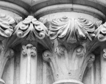 Black and White Architectural Carved Detail Art Print Stone Photography Industrial Modern Rustic Home Decor New Zealand Wall Art